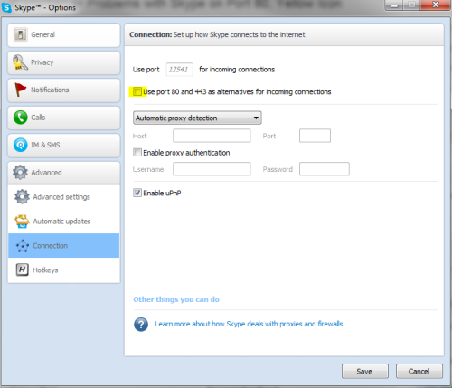 Screenshot of disabling port 80 in Skype